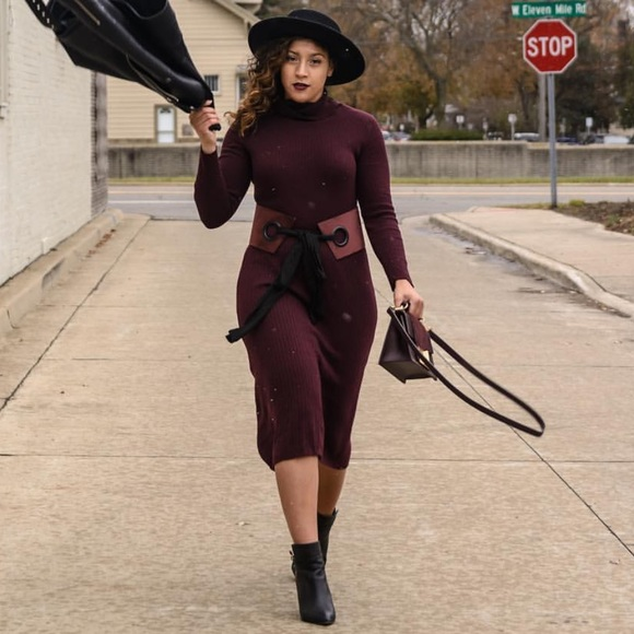 Burgundy Midi Sweater Dress